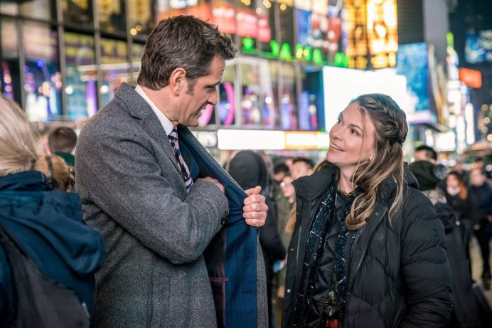Liza and Charles talk in Times Square in #LizaToo. via Twitter// Sutton Foster.